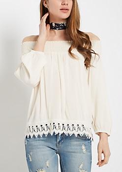 Ivory Crochet Trimmed Off-Shoulder Top