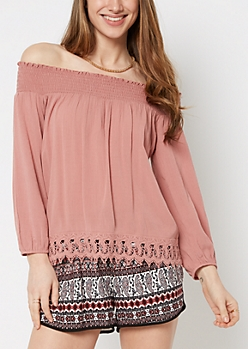 Dusty Pink Crochet Trimmed Off-Shoulder Top