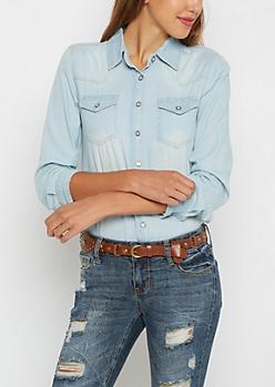 Sandblasted Button Down Jean Shirt