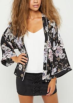 Black Blossom Kimono
