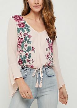 Pink Floral Bell Sleeve Crepe Top