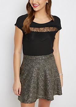 Black Sheer Lace Chiffon Shirt