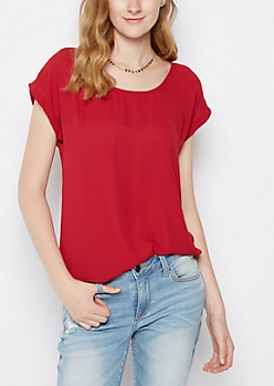 Burgundy Back Zip Chiffon Tee