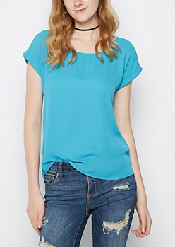 Teal Back Zip Chiffon Tee