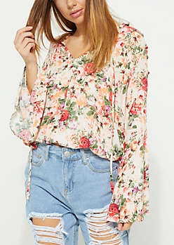 Coral Floral Bell Sleeve Blouse