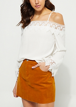 White Off Shoulder Lace Trim Blouse