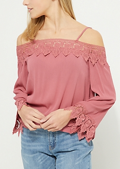 Pink Off Shoulder Crochet Lace Top