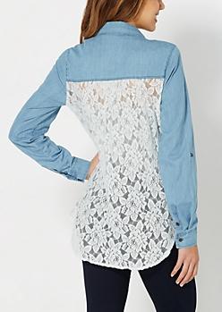 Medium Blue Lace Chambray Shirt