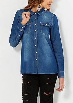 Medium Blue Chambray Pearlescent Shirt