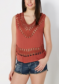Burnt Orange Crochet V-Neck Tank