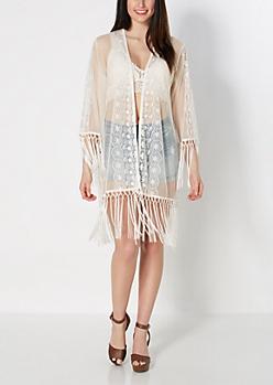 Sheer Floral Fringe Kimono
