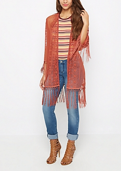 Burnt Orange Sheer Floral Fringe Kimono