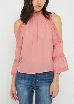 Pink Crochet Bell Sleeve Cold Shoulder Blouse