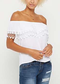 White Crochet Drop Flounce Off Shoulder Top
