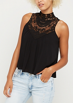 Black Lace High Neck Tank Top