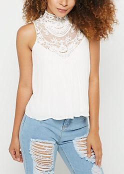 White Lace High Neck Tank Top