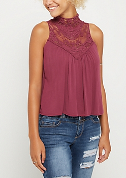 Purple Lace High Neck Tank Top