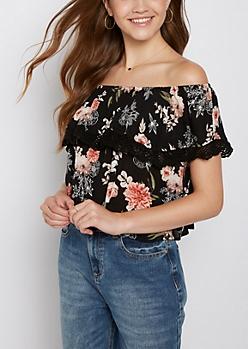 Black Floral Off Shoulder Flounce Top