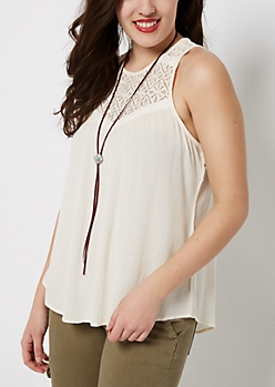 Ivory Lace High Neck Swing Tank