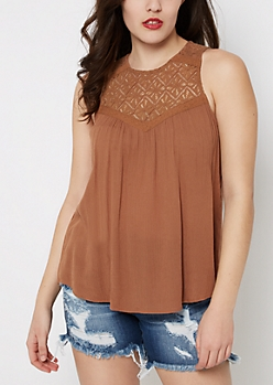Taupe Lace High Neck Swing Tank