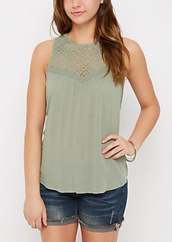 Green Lace High Neck Swing Tank