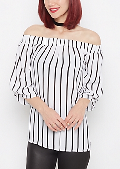 Striped Off-Shoulder Chiffon Blouse
