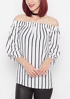 Striped Off-Shoulder Chiffon Blouse
