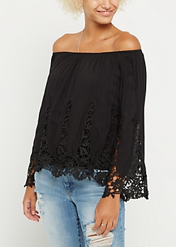Black Crochet Off Shoulder Bell Sleeve Top