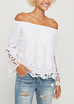 White Crochet Off Shoulder Bell Sleeve Top