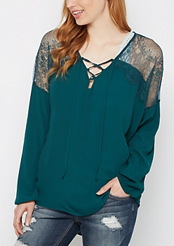 Teal Eyelash Lace Yoke Blouse