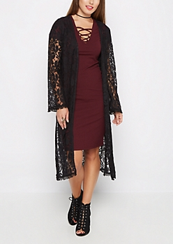 Black Floral Lace Duster