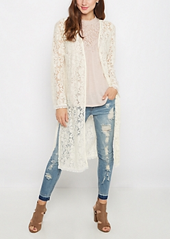 Ivory Floral Lace Duster