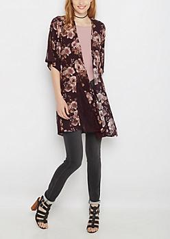 Lace Inset Rose Crepe Kimono