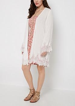 Eyelash Lace Chiffon Kimono
