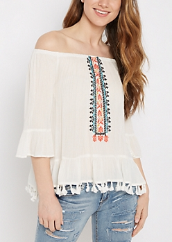 Ivory Southwest Tassel Off-Shoulder Top