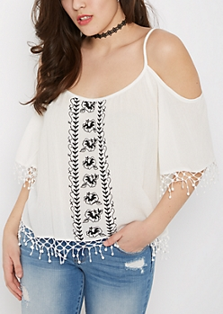 White Embroidered Cold Shoulder Peasant Top