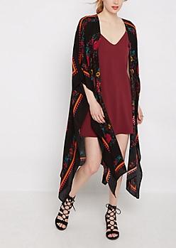 Black Wildflower Split Seam Kimono