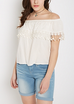 Ivory Crochet Flounce Off-Shoulder Top