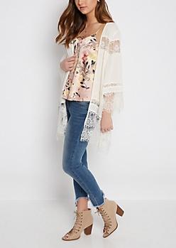 Ivory Lace Chiffon Kimono