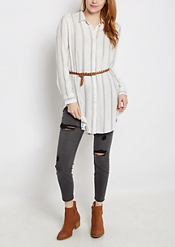 Striped Belted Tunic Button Down