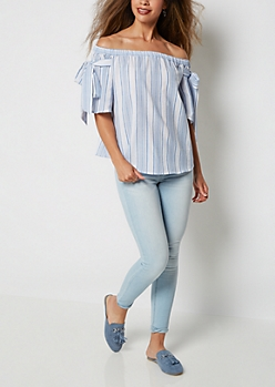 Striped Off Shoulder Tie Sleeve Top