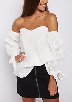 White Gathered Sleeve Off Shoulder Top