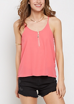 Red Zip Front Chiffon Cami