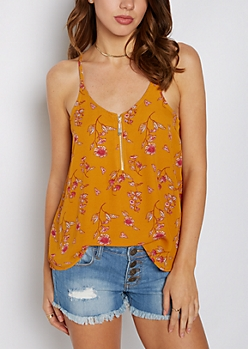 Floral Zip Front Chiffon Cami