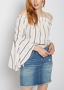 Striped Tie Back Off Shoulder Crop Top