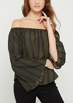 Olive Striped Bell Sleeve Off Shoulder Top