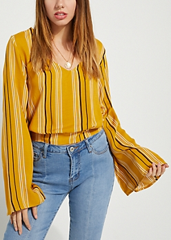 Mustard Tied-Back Striped Blouse