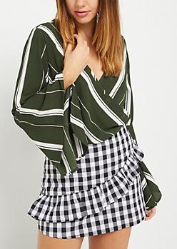 Green Striped Surplice Crepe Top
