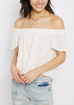 Geo Embroidered Off-Shoulder Top