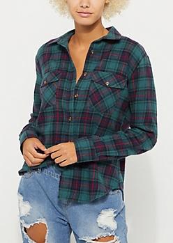 Dark Green Plaid Boyfriend Flannel Shirt